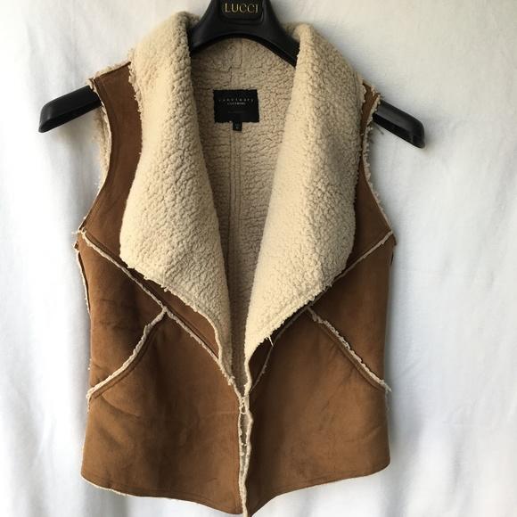 Sanctuary Jackets & Blazers - Sanctuary Faux Suede Sherpa Fleece Drape Open Vest